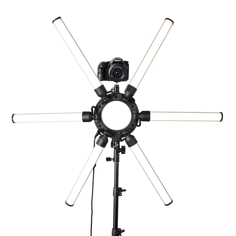 FOSOTO TL-1200S Dimmable 3200K-5500K Photography Makeup 6 Tubes Eyes Star 336 LED Video Photo Ring Light Lamp with Tripod For advertisement photography, shooting video