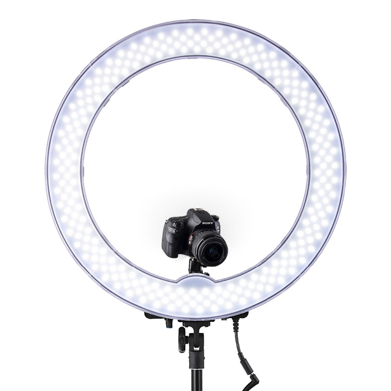 FOSOTO RL-18 LED Ring Light 5500K 55W Photo Studio Light Photography Dimmable Video for Smartphone with Tripod Phone Holder