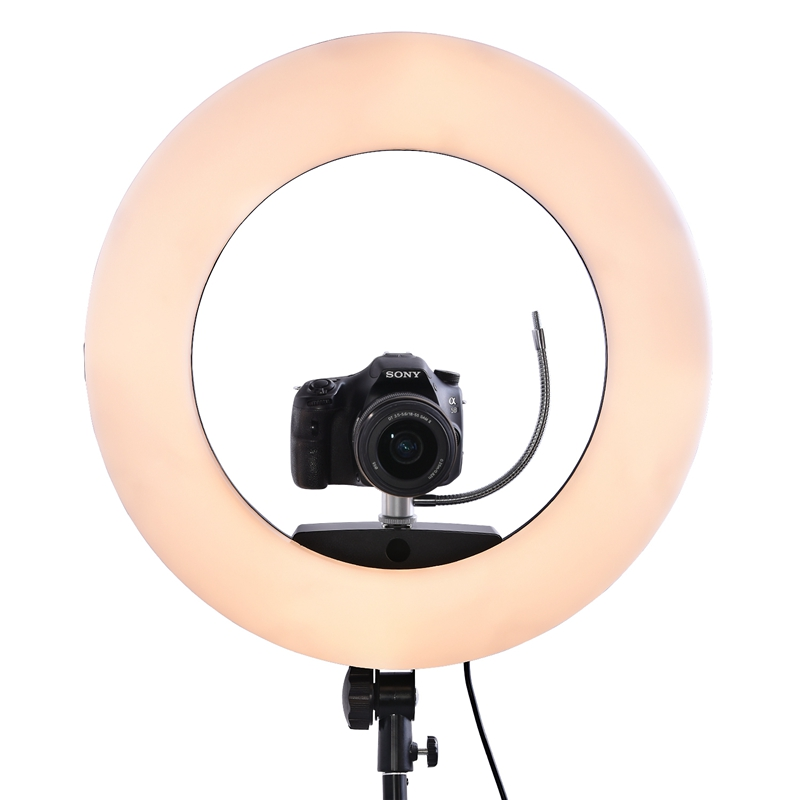 FOSOTO FS-480 II LED Ring light Kit with Tripod Stand for YouTube Video and Makeup, Mini LED Camera Light with Cell Phone Holder Desktop LED Lamp