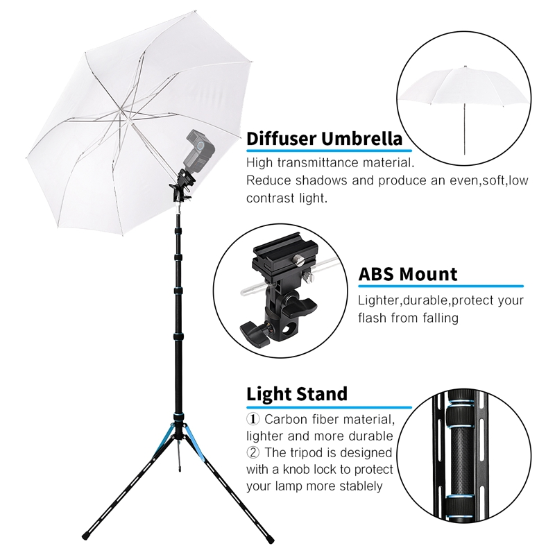Fosoto FT-220 Carbon Fiber Blue Led Tripod Light Stand Head Softbox and Umbrella Flash Reflector For Photographic Lighting