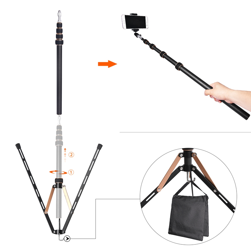 FOSOTO FT-220 Carbon Fiber Gold Led Light Tripod Stand Head Softbox and Umbrella Flash Reflector For Photo Studio Photographic Lighting