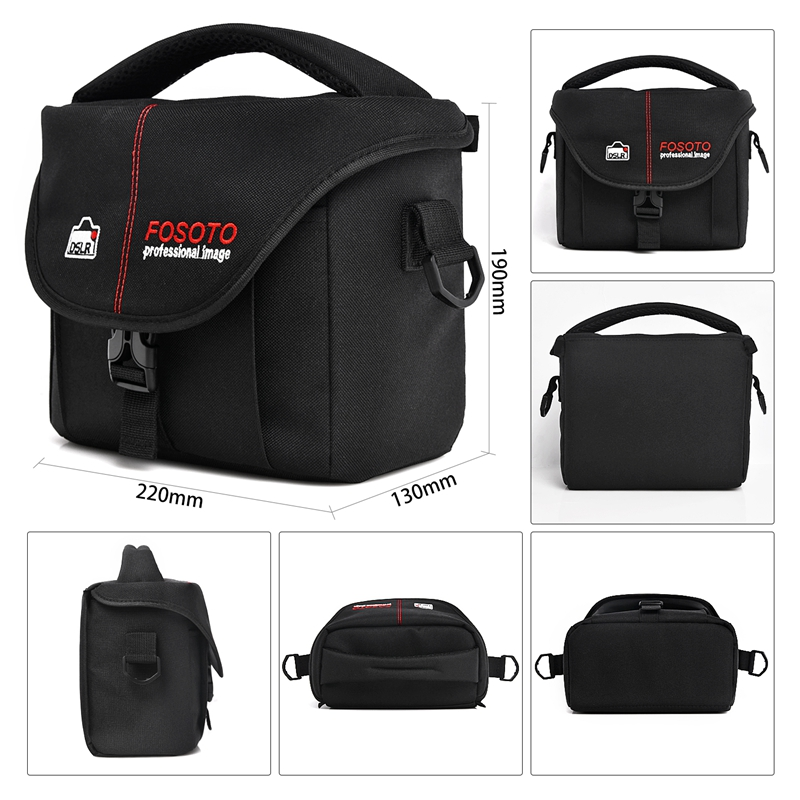 FOSOTO 210-B DSLR Camera Bag Fashion Polyester Shoulder Bag Waterproof Camera Case For Canon Nikon Sony Lens Pouch Bag Photo Video bag