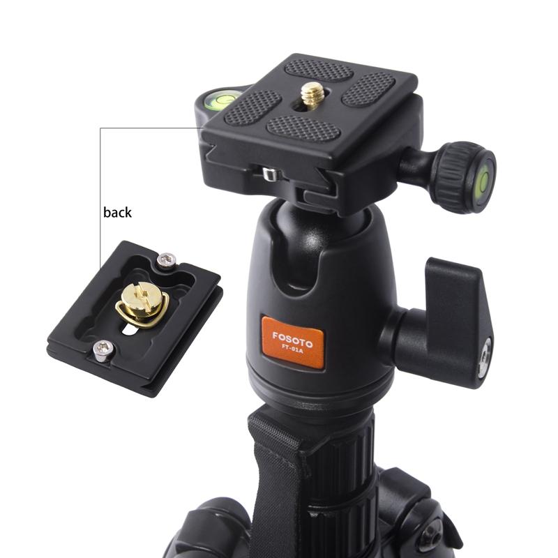 FOSOTO F-555 Professional Portable Magnesium Aluminium Alloy Q555 Camera Tripod Monopod Stand with Ball Head  For Canon Nikon DSLR Phone