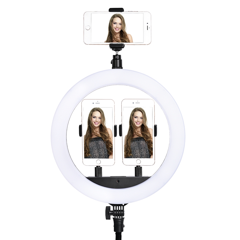 FOSOTO SLP-R300 LED Ring Light Photographic Lighting 2700-6500K 60W Ring Lamp With Tripod Stand For Makeup Camera Phone Video