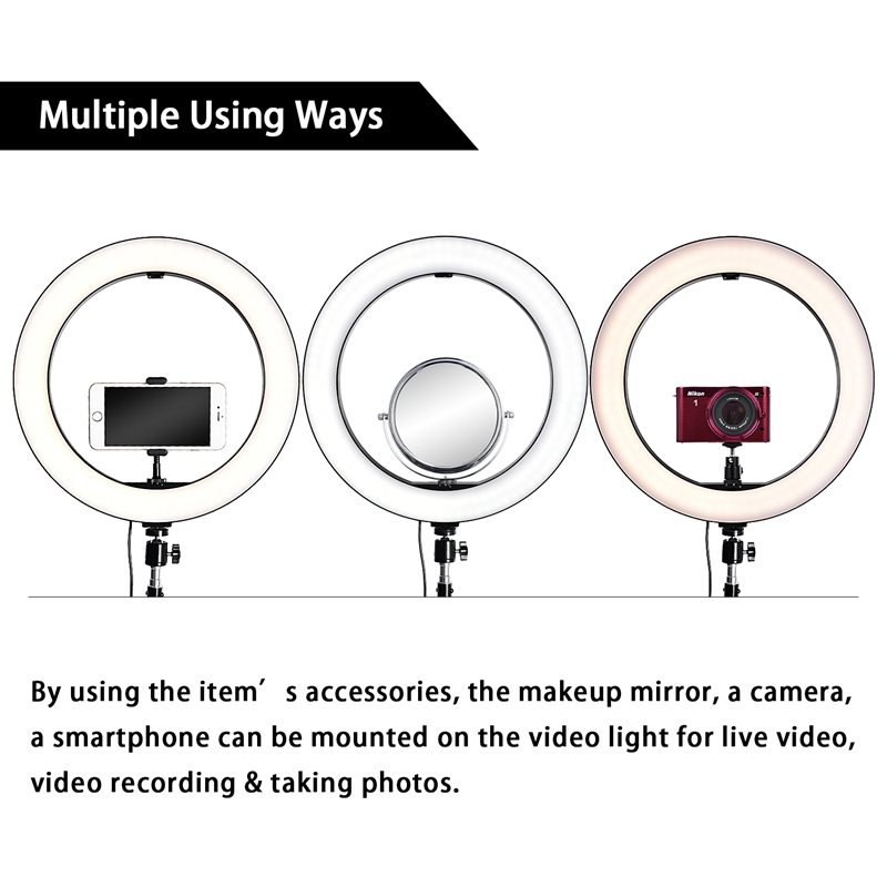 FOSOTO RL14-450 Video Light Dimmable LED Selfie Ring Light Photography Light with Phone Holder183CM tripod stand for Makeup Youtube