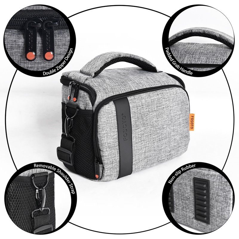 FOSOTO 650DS Camera Bag Fashion DSLR Shoulder Bag Camera Case For Canon Nikon Sony Lens Pouch Bag Waterproof Photography Photo Bag