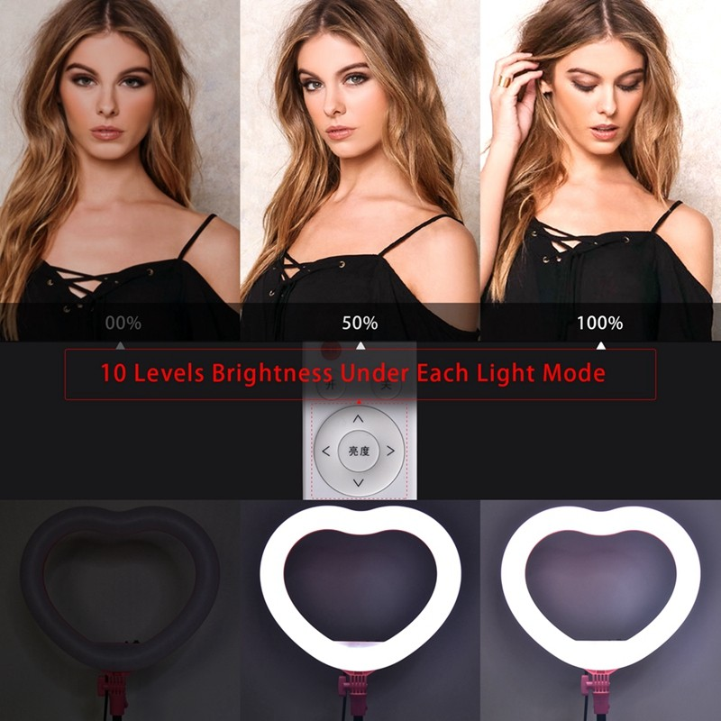 FOSOTO FT-X258 heart shaped ring light Modes makeup Selfie led ring light lamp with light stand