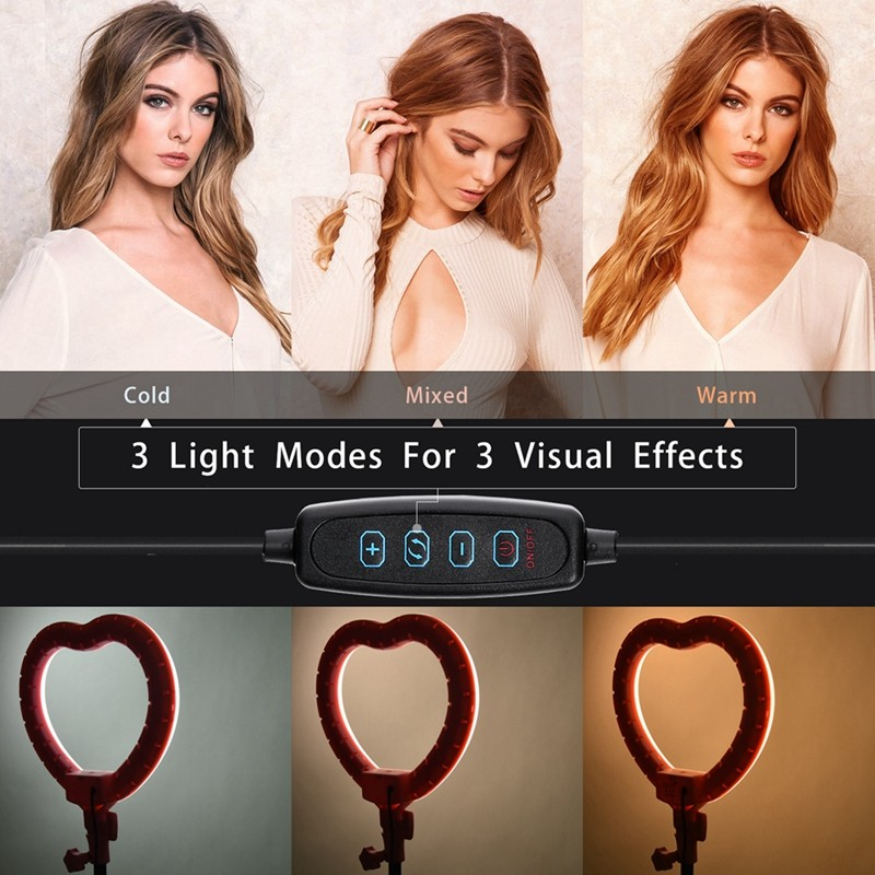 FOSOTO FT-X225 heart-shaped fill light 3200k-5600k beauty makeup light photography selfie ring light with tripod