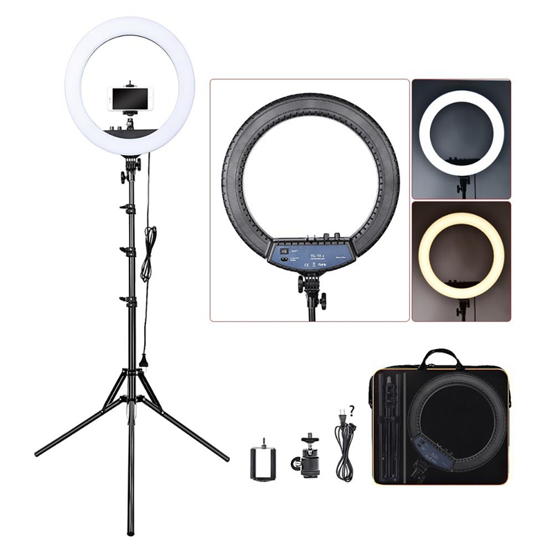 FOSOTO RL-18II Dimmable Photographic Lighting 3200K-5600K 512 Led Ring Light for Camera, Makeup