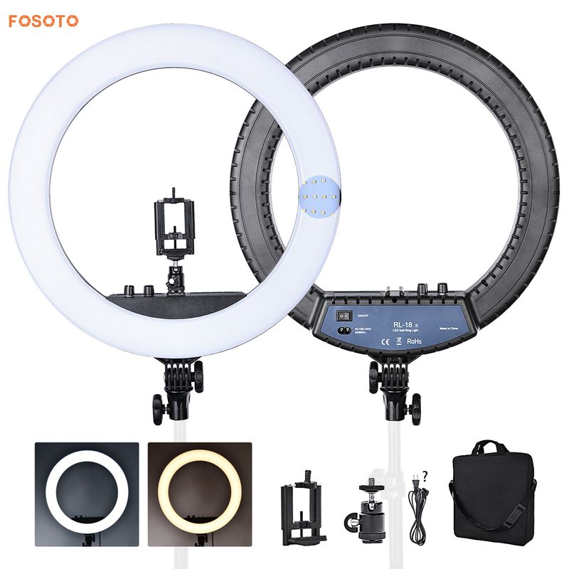 FOSOTO RL-18II 18 LED Ring Light Annular Lamp Bi-color 3200K-5500K 55W Ring Lamps for Video YouTube Photo Ring light Makeup Light