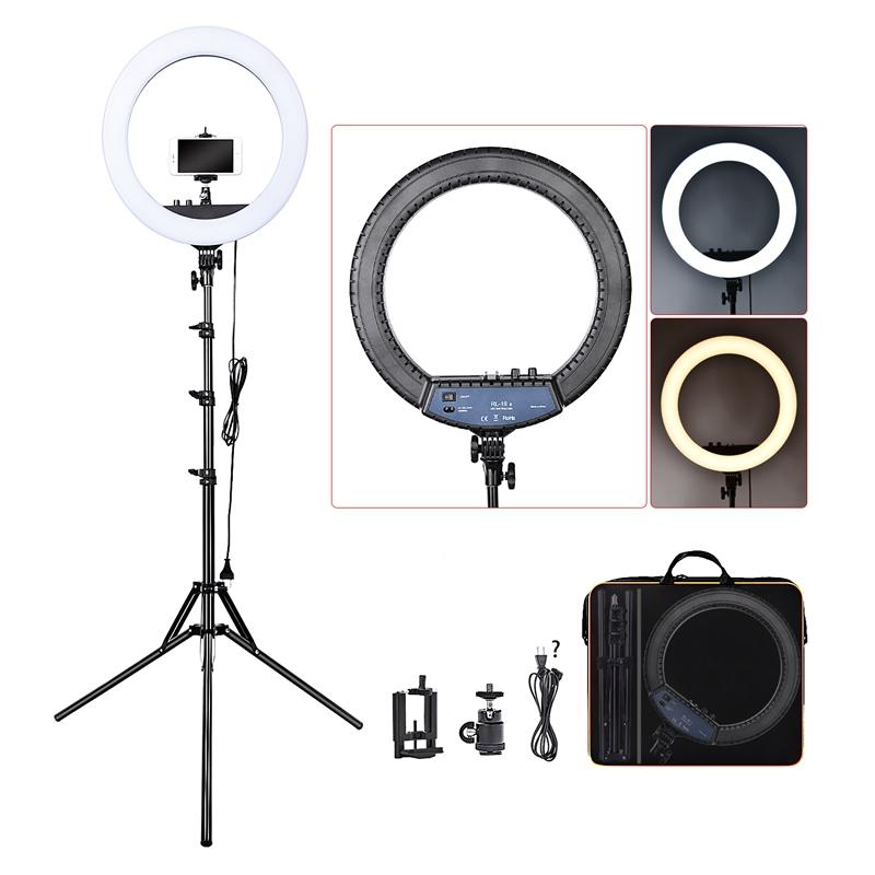 FOSOTO RL-18II 18 LED Ring Light Annular Lamp Bi-color 3200K-5500K 55W Ring Lamps for Video YouTube Photo Ring light Makeup Light
