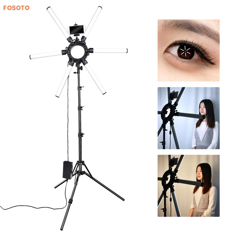 FOSOTO FT-SL6 Dimmable 3200K-5500K Photography Makeup 6 Tubes Eyes Star 336 LED Video Photo Ring Light Lamp with Tripod For advertisement photography, shooting video
