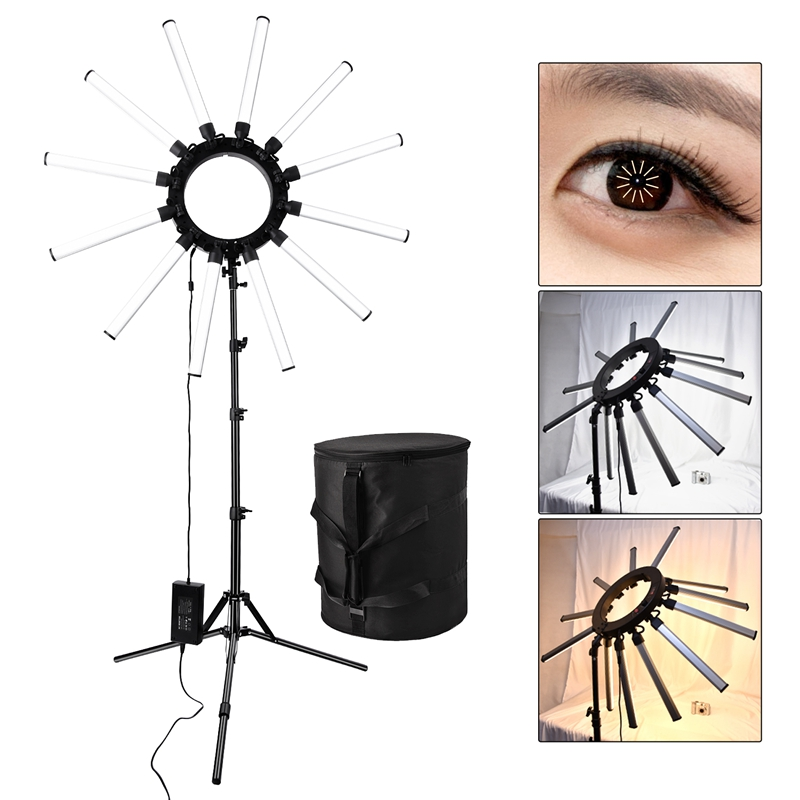 FOSOTO TL-1800S Photographic Lighting Dimmable 3200-5600K 12 Tubes 672 Leds Camera Photo Studio Photography light Lamp For photography,makeup