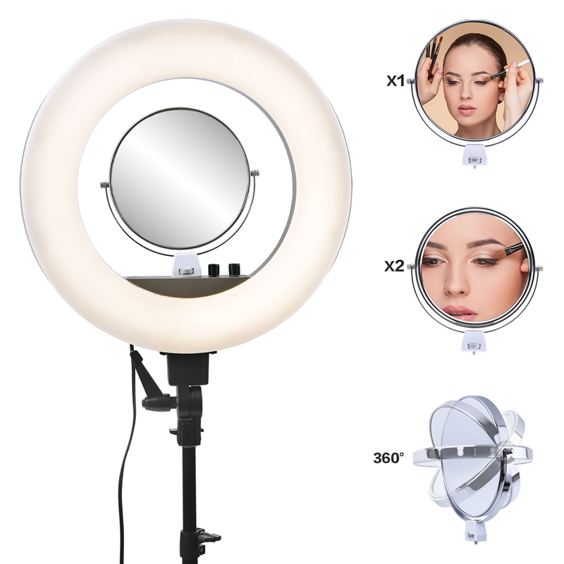 FOSOTO CY-R50L 18inch photographic lighting 480pcs led 3200K-5500K Dimmable 55W Ring Light Lamp&Tripod Stand For Phone Video Camera