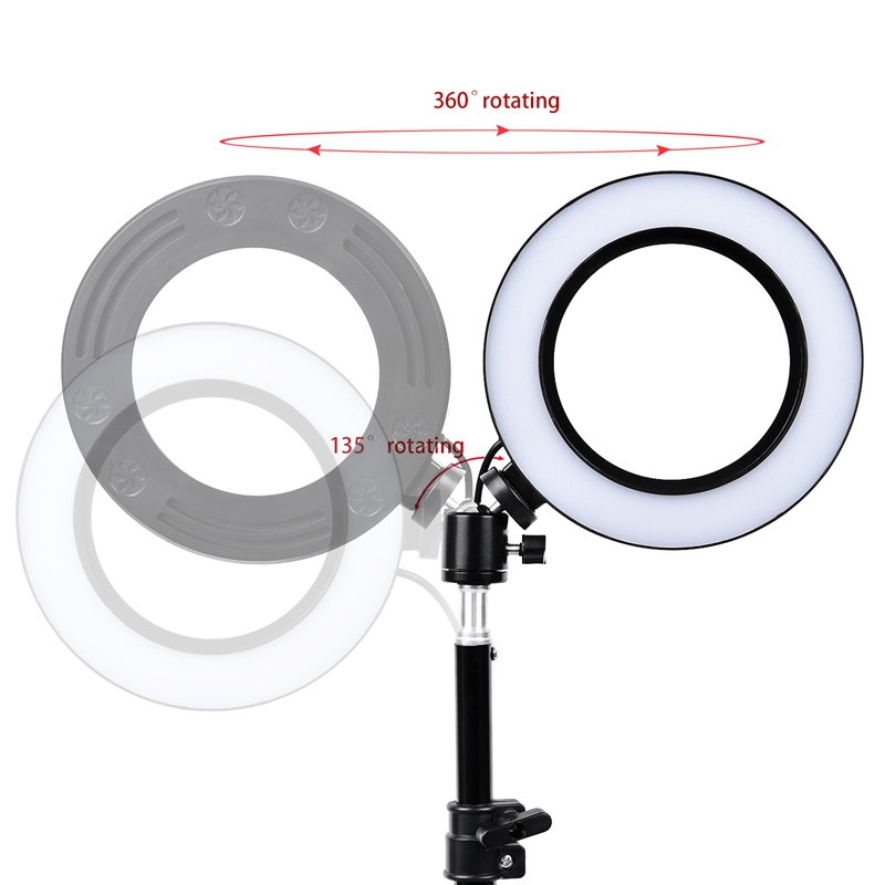 FOSOTO 10 inch / 26cm Photographic Lighting 5500K Dimmable Led Ring Light Lamp for for Video, Portrait, and Product Photography