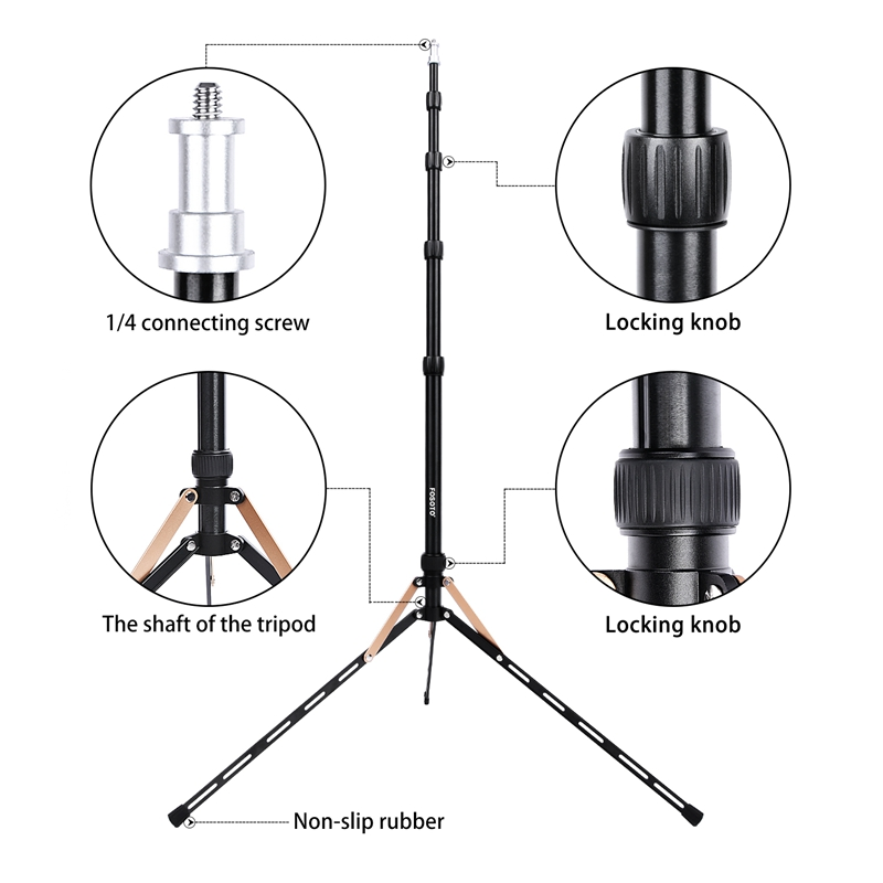 Fosoto FT-190B 2.2m Gold Led Light Tripod Stand with Bag Head Softbox  For Photographic Lighting Flash Umbrellas Reflector
