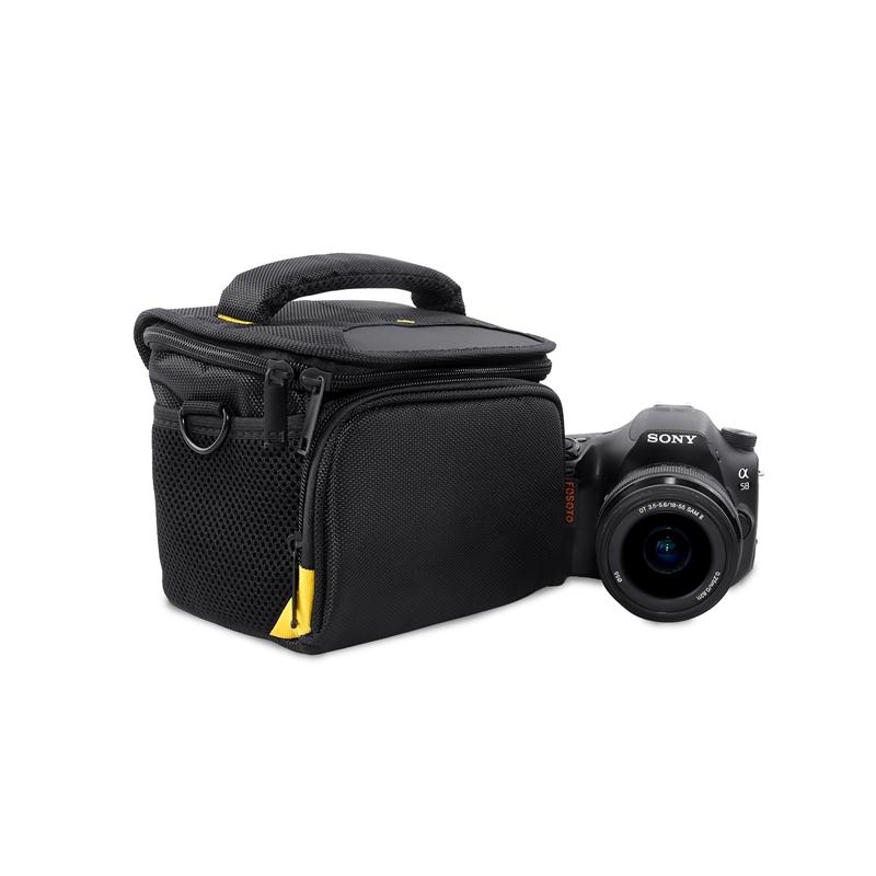 FOSOTO R4 DSLR Shoulder Bags Digital Video Photo Camera Travel Case Bag with Waterproof Rain Cover for Canon Nikon SLR D3400 D3100