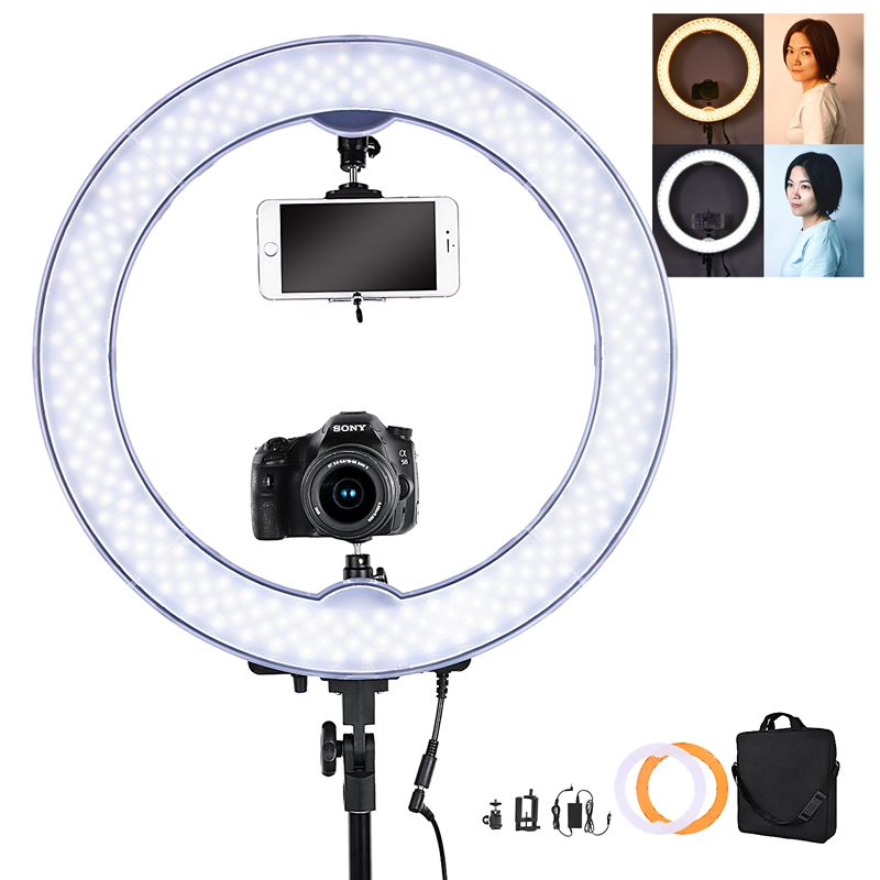 FOSOTO 55W 5500K 240 LED Makeup Photographic Lighting with battery slot for Makeup Camera Phone