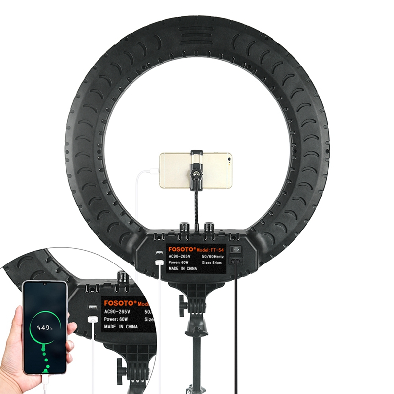 FOSOTO FT-54 21inch 60W LED Ring Light Lamp With Remote Control & Tripod YouTube video shooting