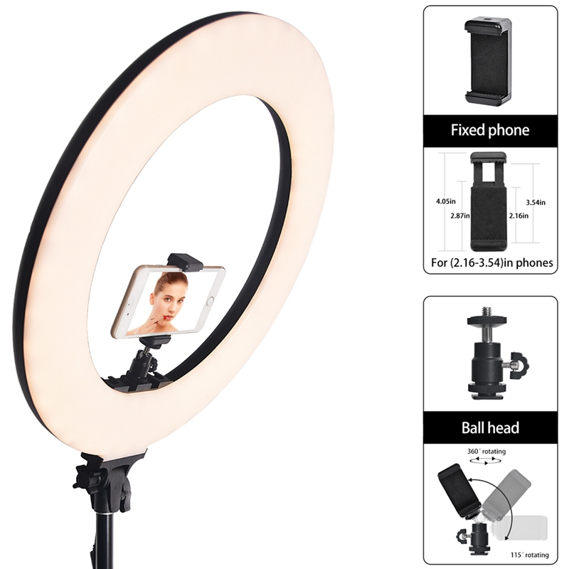 FOSOTO RL-480L18 inch LCD screen 60W Battery Operate LED Ring Light with light stand for video shooting